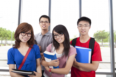 group of young student are smiling
